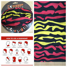 NWT Multi Purpose Mask Headwear Cap Tube Headband Black Red Yellow Bandana Scarf