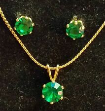 "Vintage Costume Jewelry Set Green Stones 14"" Gold Filled Chain Earrings"