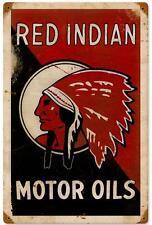 Hot Rod Vintage Red Indian Motor Oil Metal Sign Man Cave Garage Shop Decor 174
