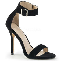 Pleaser AMUSE-10 Women's Sexy Black Velvet High Heel Open Toe Ankle Strap Sandal