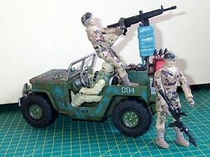 Toy Soldiers x 3 US Army Infantry + JEEP with mounted Gun + Accessories MOC