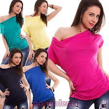 Maglia donna maglietta maniche corte arricciatura asimmetrica nuova AS-26181