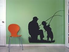 Dad Kid Fishing Silhouette Vinyl Wall Art Decor Sticker for Home Room Decals