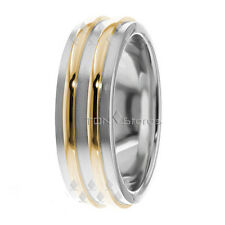 10K Gold Two Tone Wedding Band Ring Mens Womens Wedding Bands Rings Matching Set