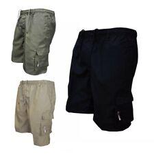 Men Elastic Waist Cargo Shorts Pockets Cotton Combat Work Casual Shorts Pants