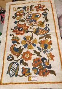 2 Vintage Tea Towel Stevens Linen Embroidered Jacobean Floral