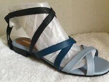 Fendi Blue Multi Logo Italian Calf Leather Wrap Sandal, Size 39, BRAND NEW