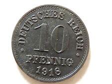 """1918 German Deutsches Reich Ten (10) Pfennig """"Wilhelm ll"""" Coin"""