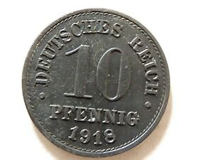 "1918 German Deutsches Reich Ten (10) Pfennig ""Wilhelm ll"" Coin"
