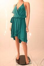 Haute Hippie Turquoise Halter Asymmetrical Hem Wrap Cocktail Dress With Belt