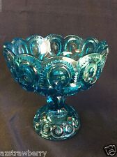 VTG LE Smith Moon & Stars Blue Glass footed piedestal Bowl Candy Compote dish