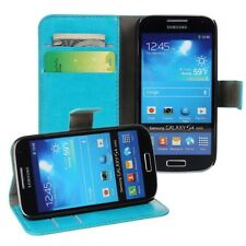 For Samsung Galaxy S4 Mini i9190 i9195 Turquoise Real Leather Wallet Case Cover