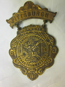 1894 Pittsburgh Annual Conclave Knights Templar Grand Commandery Souvenir Medal