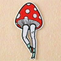 Lovely Cartoon Mushroom Girl Embroidered Patches Iron On For Clothing Hat DIY