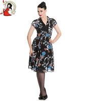 HELL BUNNY STARRY NIGHT DRESS bird 50s vintage style CHIFFON party BLACK