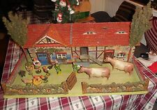 Vintage ELASTOLIN VILLAGE FARM HOUSE w/ FIGURES