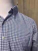 Peter Millar Blue/White Check Pattern 100% Cotton Men's Shirt Size Large