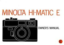 MINOLTA HI-MATIC E 35mm CAMERA OWNERS INSTRUCTION MANUAL -MINOLTA-from 1970s