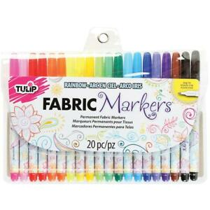 Tulip FINE FABRIC MARKERS 24pk Assorted Colours - Writer Permanent #28976