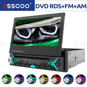 """Single DIN 7"""" Car DVD CD Player Stereo MP5 Flip Out Touch Screen FM/AM Radio USB"""