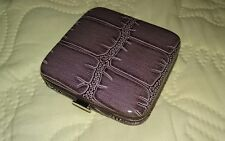 Purple Croco Faux Leather Double Mirror Folding Snap Compact