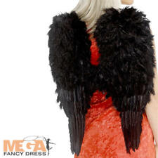 Black Soft Feather Angel Goth Wings Adults Ladies Fancy Dress Costume Accessory