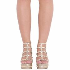 WOMENS LADIES STUDDED FASHION WEDGE SANDALS ANKLE STRAP PLATFORM SHOES SIZES 3-8