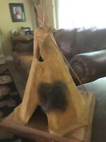 Vintage Native American Hand Crafted Small Leather Teepee & Fur Good Condition