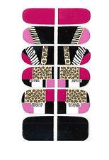 12x Nagelfolien Selbstklebend Nail Art Nail Foil Schwarz Pink Leo Muster 711