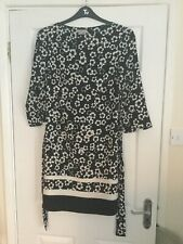 H&M UK 8 EUR 36 BLACK TUNIC  STYLE DRESS WITH FLORAL PRINT