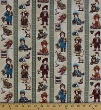Cotton From the Attic Dolls Toys Stripes Antique Cotton Fabric Print (D673.37)