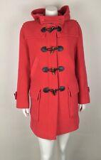 GANT Women's Duffle Coat 100% Wool Hooded Small Raspberry Lined Pockets