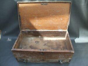 Vintage wooden Gentlemens oak tool chest toolbox for restoration