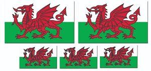 5 X WELSH FLAG Stickers, Car Vinyl Flags Waterproof Welsh Flag Decal 130x80 a11