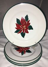Furio 4 Poinsettia Christmas Set of 4 Salad Plates Red Green