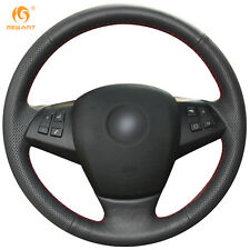 Black Leather DIY Steering Wheel Cover for BMW E70 X5 2008-2013 #0118