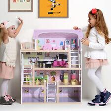 Puppenhaus Puppenstube Barbiehaus Dollhouse 4 Etagen mit Möbeln Holz