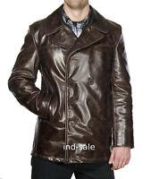 Custom Tailor Made All Size Genuine Blazer Coat Leather Jacket Dark Brown