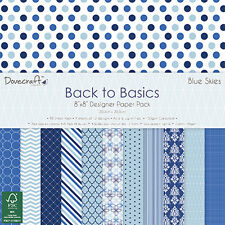 Dovecraft 8x8 Paper Pad - Backo Basics BLUE SKIES - Scrapbooking Cards