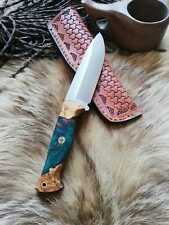 Personalized Knife Epoxy and Padauk Wood Handle, Natural Handmade Leather Case