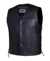 Mens Leather Vest Motorcycle Biker Club Concealed Carry Side Laces 2611.2B