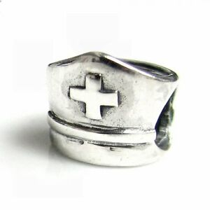 Sterling Silver Nurse Cap with Cross Bead for European Charm Bracelets