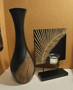 2 Piece Tea Light Tealight Candle Holder With Matching Vase Engraved Leaf Design
