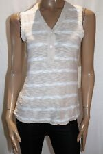 SHAE Brand Women's Beige White Cotton Knitwear Vest Top Size L BNWT #SK55