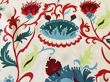 "Quadrille Ethnic Floral Linen Fabric Uzbek Multi Red Teal Blues REMNANT 26""x40"""