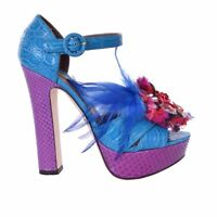DOLCE & GABBANA Crocodile Snake Plateau Sandals Pumps Heels Brooch Blue 06154
