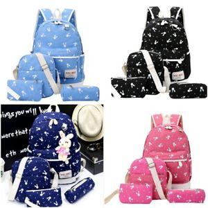 4 PCS Women Girl School Backpack Shoulder Bag Student lady Travel Satchel Bag