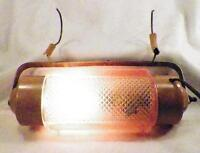 Art Deco Bed Lamp Pink Clear Glass Metal Bullet Torpedo Vintage Works
