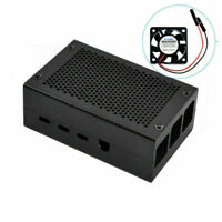 Metal Enclosure Protective Box Shell Case+Cooling Fan Fit For Raspberry Pi 4 4B