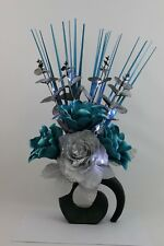 ARTIFICIAL SILK TEAL & SILVER GLITTER FLOWERS, LED LIGHTS, GALAXY GLITTER VASE